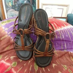 Donald Pliner Sabir Metallic Bronze Slipon Sandals